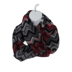 💗Ardene Circle Scarf Zigzag Print, Red/Black/Grey